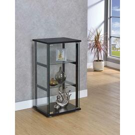 Contemporary Black and Glass Curio Cabinet