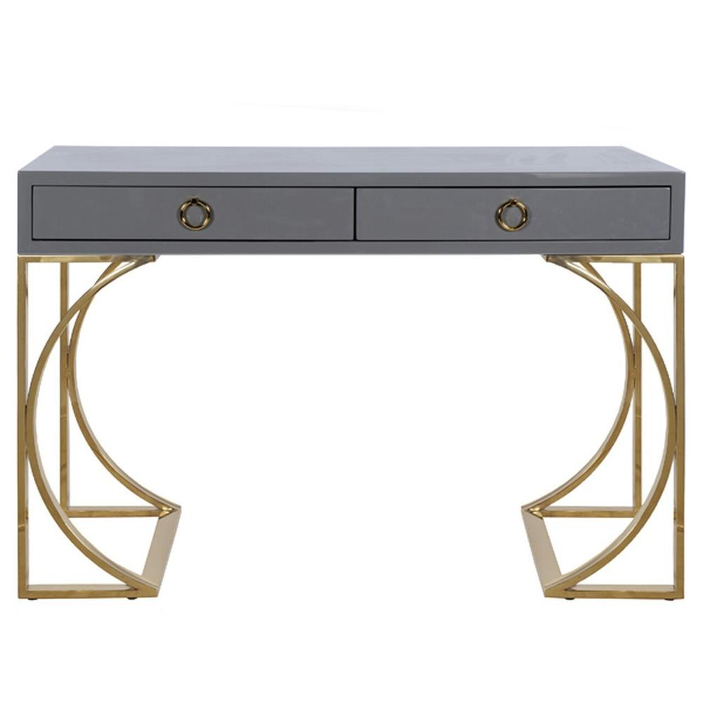 Gray Lacquer Two Drawer Desk With Brass Base & Hardware.