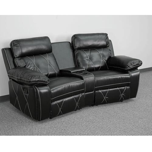 2-Seat Reclining Black Leather Theater Seating Unit with Curved Cup Holders