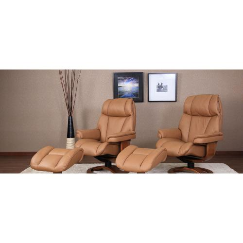 General R Manual Large Recliner With Footstool