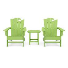 View Product - Wave 3-Piece Adirondack Set with The Ocean Chair in Vintage Lime