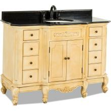 "50-1/4"" Buttercream vanity with Antique Brass hardware, carved floral onlays, French scrolled legs, and preassembled Black Granite top and oval bowl"