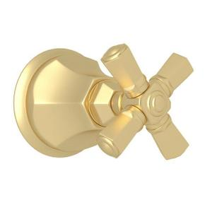 Palladian Trim for Volume Controls and Diverters - Satin Unlacquered Brass with Cross Handle