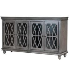 See Details - This sideboard combines function and style with its turnip feet, intricate lattice woodwork overlaying glass door panels and the two cabinet storage. Two adjustable shelves provide ample stoage space for showcasing fine china, spare linens, and tea sets. Finished in a distressed satin gray.