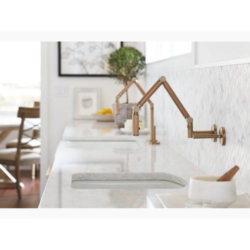 """Vibrant Brushed Bronze Articulating Two-hole Wall-mount Kitchen Sink Faucet With 13-1/4"""" Spout With Bronze Tube"""