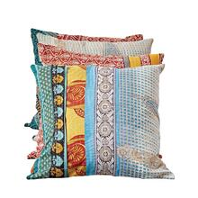 "See Details - 20"" Square Cotton Vintage Kantha Quilt Pillow"