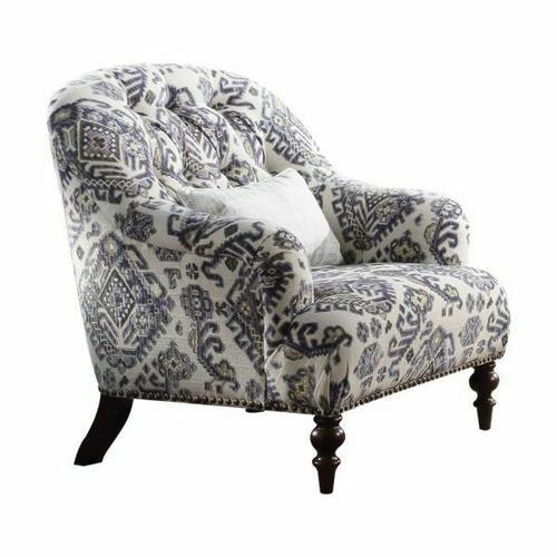 ACME Saira Chair w/1 Pillow - 52062 - Pattern Fabric