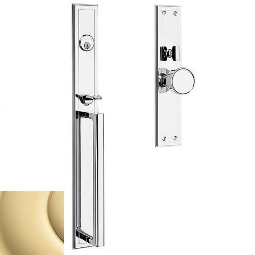 Non-Lacquered Brass Hollywood Hills Mortise Handleset Trim
