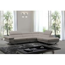 View Product - Divani Casa Quebec - Modern Medium Grey Eco-Leather Right Facing Sectional Sofa