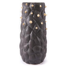 Large Cactus Vase Black & Gold