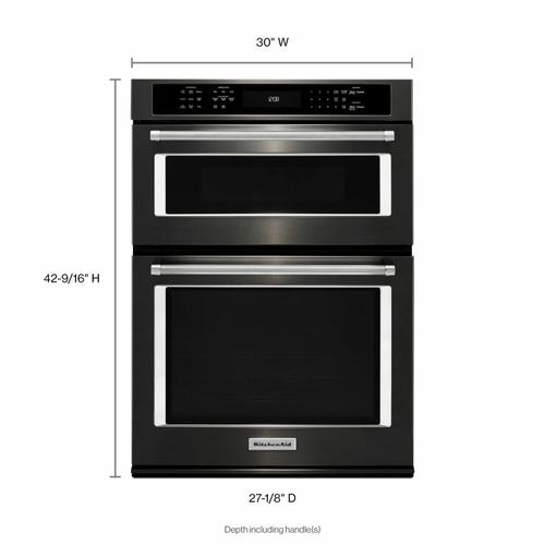 """KitchenAid Black Stainless - 30"""" Combination Wall Oven with Even-Heat™ True Convection (Lower Oven) - Black Stainless Steel with PrintShield™ Finish"""