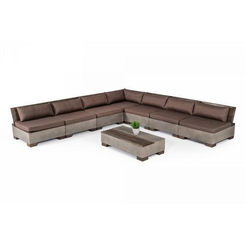 VIG Furniture - Modrest Delaware - Modern Concrete Modular Sectional Sofa Set with Rectangular Coffee Table