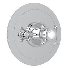 Polished Chrome Perrin & Rowe Georgian Era Round Thermostatic Trim Plate Without Volume Control with Georgian Era Cross Handle