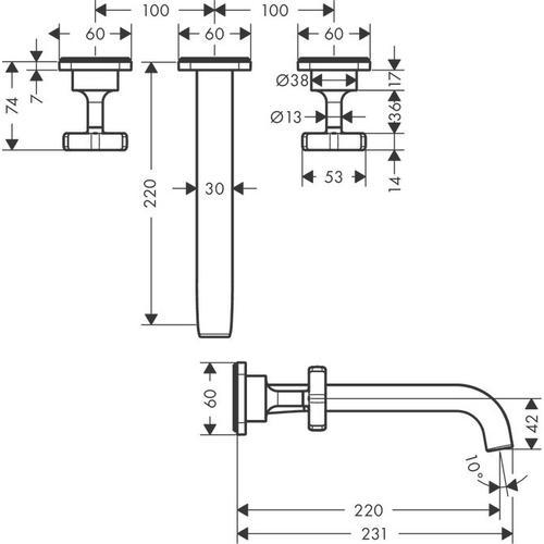 Brushed Bronze 3-hole basin mixer for concealed installation wall-mounted with spout 220 mm and escutcheons