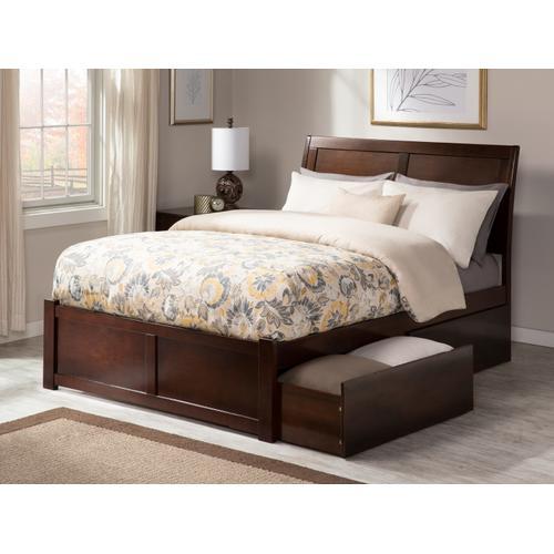 Atlantic Furniture - Portland Queen Flat Panel Foot Board with 2 Urban Bed Drawers Walnut