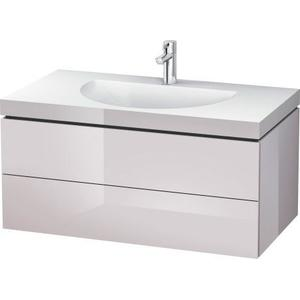 Furniture Washbasin C-bonded With Vanity Wall-mounted, White Lilac High Gloss (lacquer)