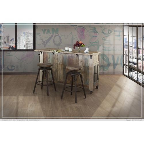 International Furniture Direct - Kitchen Island w/3 Drawer, 2 sliding doors, 2 Mesh doors on each side & casters
