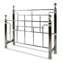 See Details - Northbrook Metal Headboard and Footboard Bed Panels with Antique Styling and Bold Finial Posts, Black Nickel and Chrome Finish, Queen