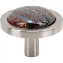 View Product - FireSky Iron Tiger Eye Knob 1 9/16 Inch Brushed Satin Nickel Base Brushed Satin Nickel