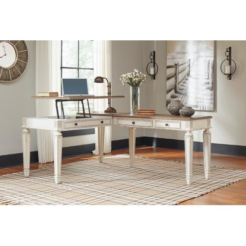 Realyn 2 Piece Home Office Set White/Brown