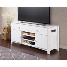 See Details - Nantucket 2 Drawer 60 inch Entertainment Console with Adjustable Shelves and Charging Station in White