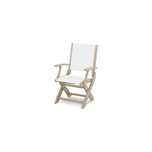 Coastal Folding Chair in Sand / Burlap Sling