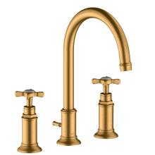 Brushed Gold Optic 3-hole basin mixer 180 with cross handles and pop-up waste set
