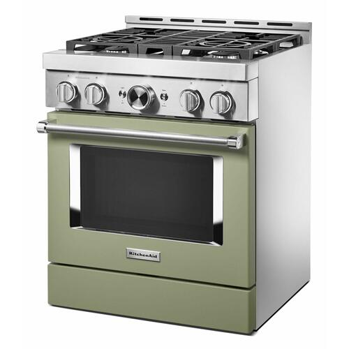 KitchenAid - KitchenAid® 30'' Smart Commercial-Style Gas Range with 4 Burners - Avocado Cream