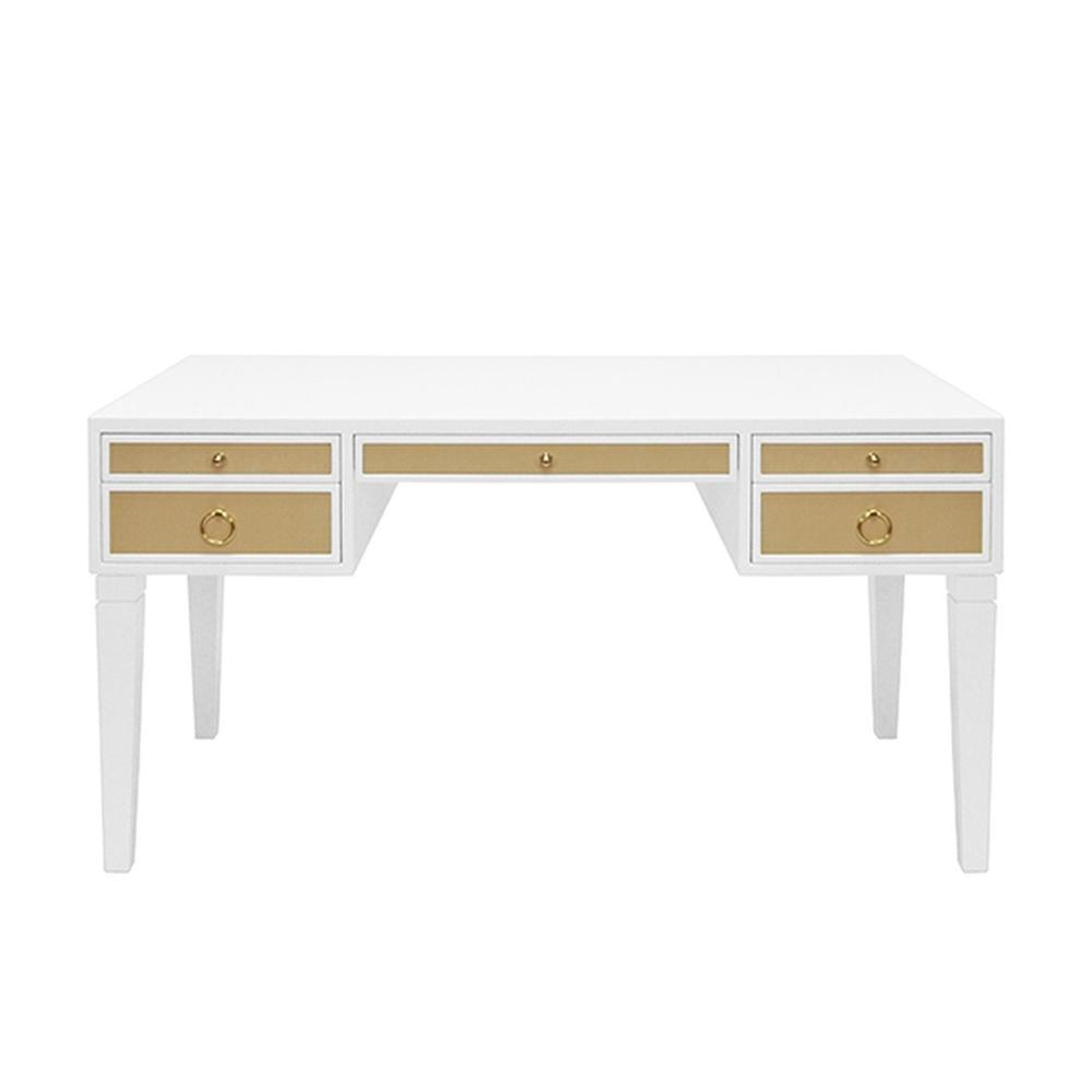 Some May Say the Heidi Desk Was Designed Solely To Revive the Lost Art of Penmanship - But Whether You Use It for Writing Letters or Emailing Them, You'll Love the Exquisite Luxe Tailoring In Any Contemporary Home Office. Contrasting Natural Grasscloth Drawers Add an Organic Feel To This Timeless, Matte White Lacquer Frame. Brass Hardware Completes the Look.