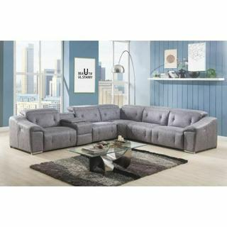 ACME Hosta Sectional Sofa (Power Motion) - 52485 - Gray Polished Microfiber