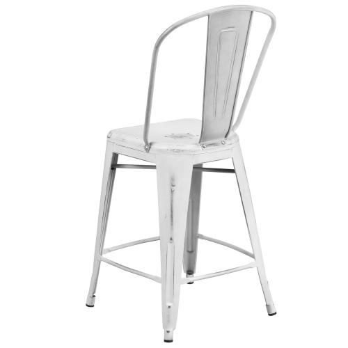 24'' High Distressed White Metal Indoor-Outdoor Counter Height Stool with Back