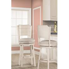 See Details - Clarion Swivel Bar Stool - Sea White Wood Finish