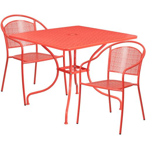 35.5'' Square Coral Indoor-Outdoor Steel Patio Table Set with 2 Round Back Chairs