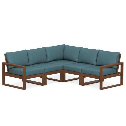 Polywood Furnishings - EDGE 5-Piece Modular Deep Seating Set in Teak / Ocean Teal