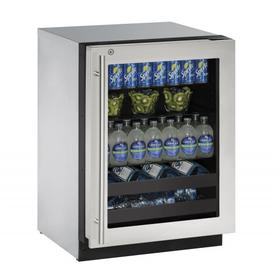 """24"""" Beverage Center With Stainless Frame Finish and Right-hand Hinge Door Swing (115 V/60 Hz Volts /60 Hz Hz)"""
