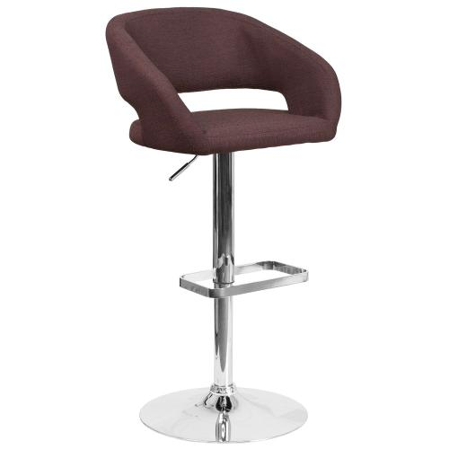 Contemporary Brown Fabric Adjustable Height Barstool with Chrome Base