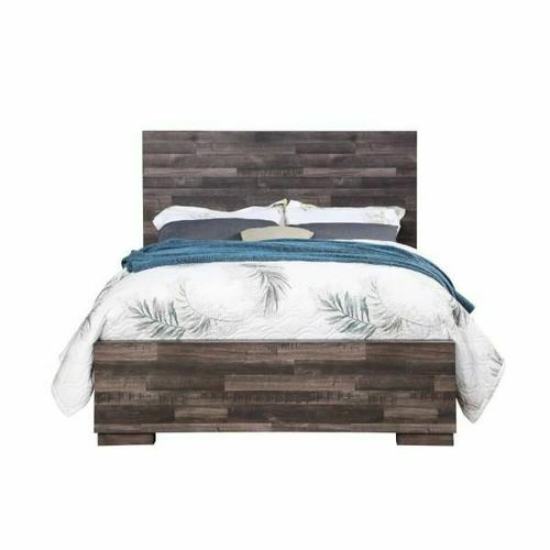 ACME Juniper Queen Bed - 22160Q - Transitional, Rustic - Wood (Solid Pine), Veneer (Melamine), MDF - Dark Cherry