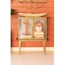 See Details - antique brass and glass two door cabinet