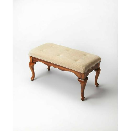 Butler Specialty Company - This delightful Queen Anne styled bench is a wonderful addition to any bedroom, entryway or sitting area. It is crafted from selected hardwood solids and wood products. Features a button-tufted chenille upholstered cushion and warm Olive Ash Burl finish.