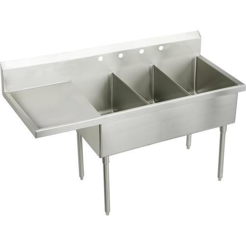"Elkay Weldbilt Stainless Steel 70-1/2"" x 27-1/2"" x 14"" Floor Mount, Triple Compartment Scullery Sink with Drainboard"