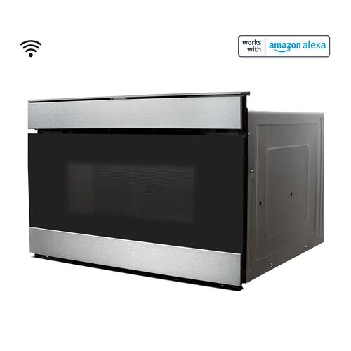 Sharp - 24 in. 1.2 cu. ft. 950W Sharp Stainless Steel Smart Easy Wave Open Microwave Drawer Oven