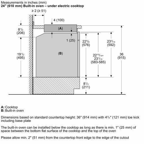 """Bosch - 500 Series 24"""" 4 BRNR Knob Control Electric Cktp, Black"""