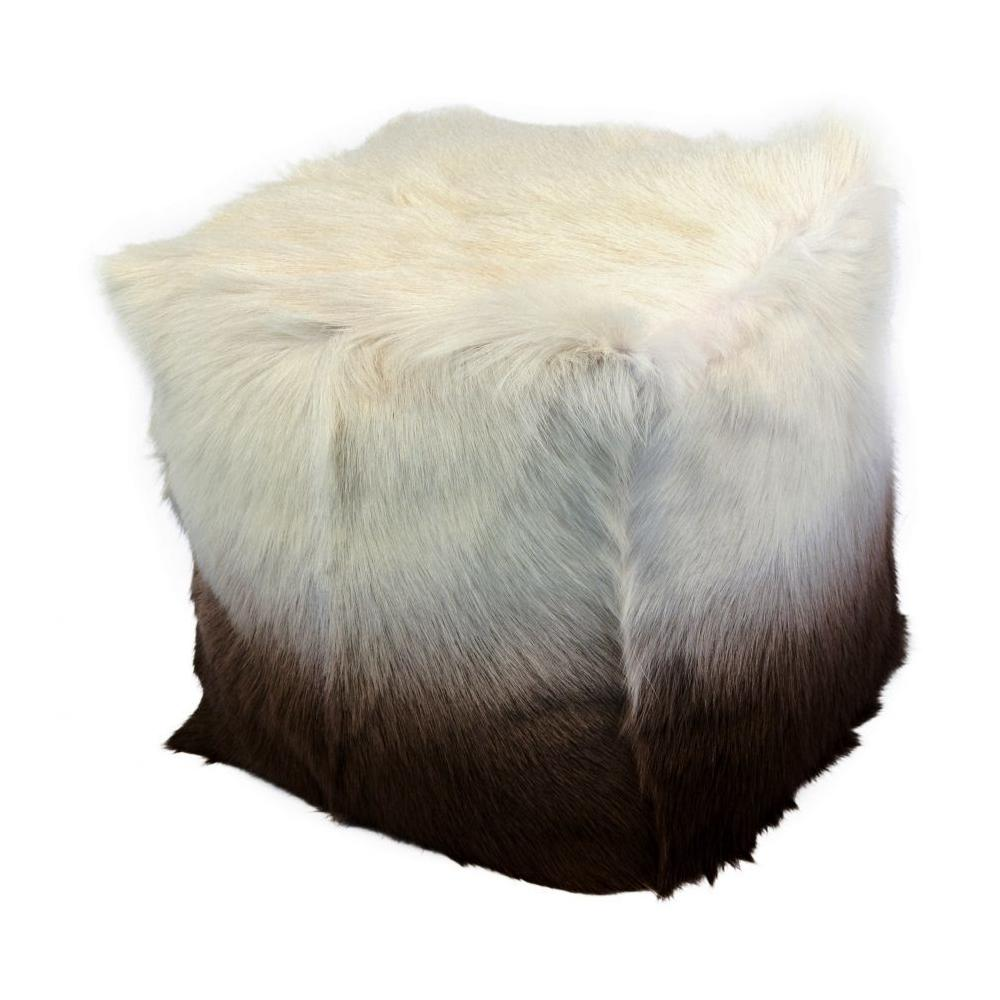 See Details - Goat Fur Pouf Cappuccino Ombre