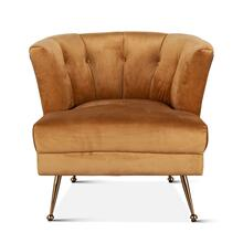 Hampton Armchair in Vintage Gold Velvet and Black Leather