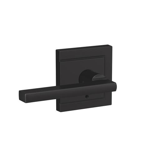Custom Latitude Lever with Upland Trim Hall-Closet and Bed-Bath Lock - Matte Black