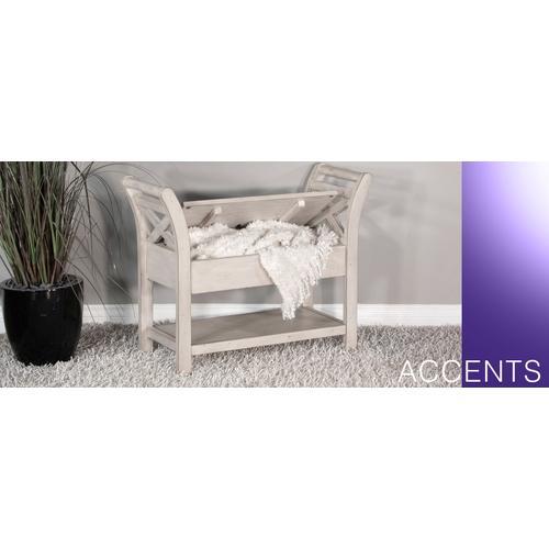 Accent Bench w/ Storage, Wood Seat