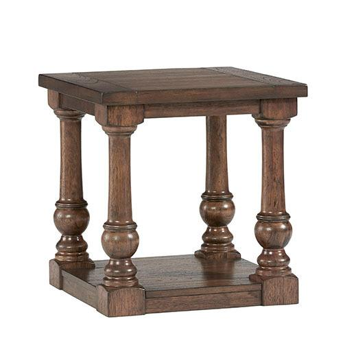 Square End Table - Cognac Finish