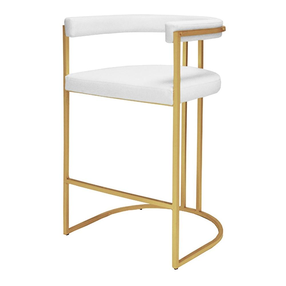 Airy, Refined, and Reminiscent of Old Hollywood, the Donovan Barrel Back Barstool Delivers A Shot of Modern Glam To Your Kitchen Island. Versatile White Vinyl Upholstery Rests Gently On A Hand Finished Gold Leaf Frame.