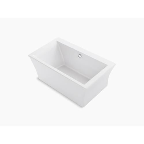 """Biscuit 60"""" X 34"""" Freestanding Bath With Fluted Shroud and Center Drain"""