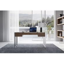 Modrest Orcutt - Modern Walnut & Stainless Steel Desk